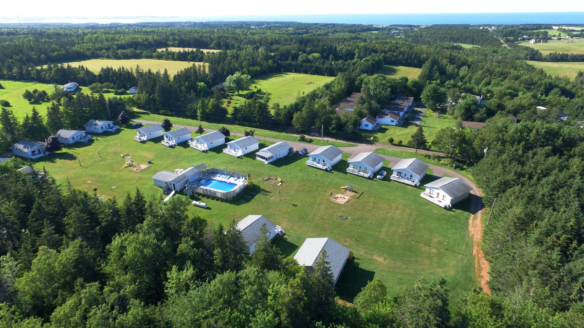 Aerial View of Hidden Acres Cottages, Cavendish, PEI